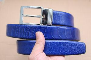 Light Blue Genuine Ostrich Leg Leather Skin Men's Belt