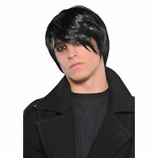 Black Emo Wig 80's 1980s Dishevelled Mop Goth Bangs Mens Fancy Dress Costume