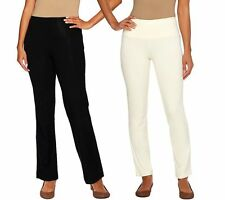 Women with Control Tall Boot Cut Ankle Pants Set Blk WinterWhite S NEW A266905