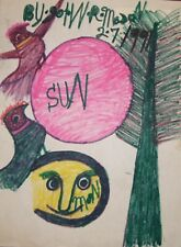 John Mason  FOLK ART PAINTING  OUTSIDER VINTAGE Red Sun Birds #1
