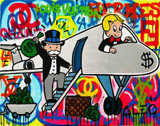 """Alec Monopoly Oil Painting on Canvas Urban art wall decor color Airplane 28x36"""""""