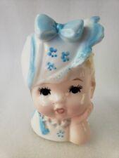 Vintage Baby Blonde Blue Hat Bow -  Head Vase