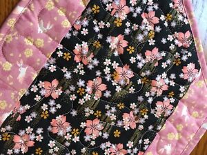 Handcrafted-Quilted Table Runner - Fabric from Japan - Pink with Rabbits/ Floral