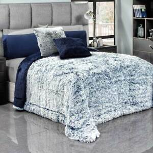 Brisa Blue Faux Fur Premium Quality Warm Platinum Super Soft Blanket