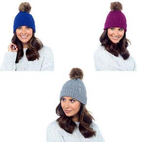 Femmes FOXBURY Chapeau Avec Faux Fourrure Bobble Taille Unique GL552