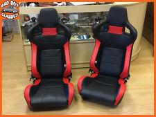 Par de asientos deportivos de cubo de inclinación Reclinable BB6 Negro/Rojo + corredores Universal