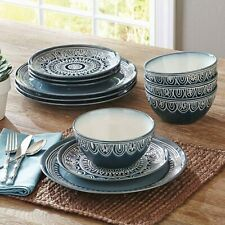 Stoneware 12-Piece Dinnerware Dish Set Teal Plates Bowls Service for 4