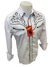 Men RODEO WESTERN WHITE BLACK STITCH Long Sleeve Woven SNAP UP Shirt Cowboy 501