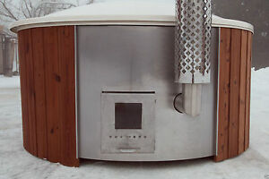 FIBREGLASS WOODEN HOT TUB WOOD FIRED Thermowood FREE Lid RRP £4000