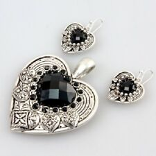 Western Aztec Cowgirl Gypsy Fashion Black Silver Tone Heart Pendant Earring Set