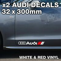 AUDI 2 x DOOR / SIDE SKIRT DECALS VINYL STICKERS - For all Models - WHITE & RED
