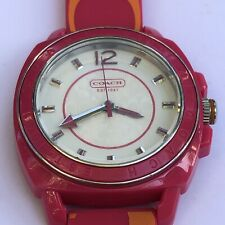 Coach BOYFRIEND Watch Silicon Rubber Pink Orange Strap 14501465
