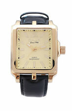 Omax Herren Gold Blende Rechteckig Ziffernblatt Schwarz Leder Armband Uhr Analog