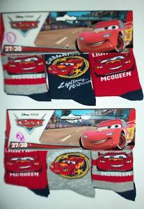 Boys 3 variety pack Disney Pixar Cars Socks with Lightning McQueen detail.