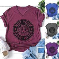 Women Letter Print Short Sleeve T-Shirt Not Your Basic Witch Halloween Shirt Top