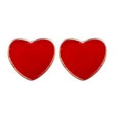 Ruby Red Heart Stud Earrings Drop Earrings 925 Silver Post 18K Gold Plated Love
