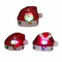 2018 Christmas Hat,Luoky 3 Pack of Santa Hats 3 Color LED Glowing Blinking