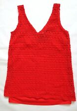 Next Women`s Top Crochet Sleeveless Red Size 10