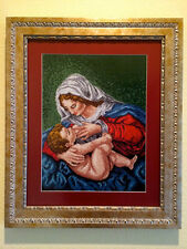 100% handmade cross stitch - Virgin Mary breastfeeding baby Jesus