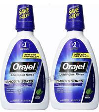 Orajel Antiseptic Mouth Rinse Fresh Mint 16oz ( 2 pack ).  Exp 1/2022