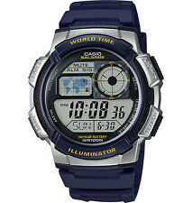 Casio AE1000W-2A Men's Blue Resin Band 5 Alarms Chronograph World Time Watch