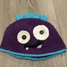 Newborn Handknit Monster Hat Sz 0-12 months Purple Face Photo Session Prop C82
