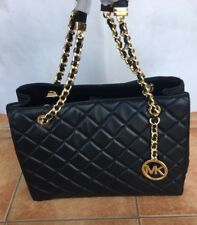 Michael Kors 100% SUSANNAH Quilted Black Lamb Leather Shoulder Hand Bag TAGS NEW