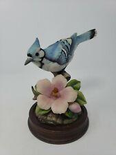 Andrea By Sadek Blue Jay Porcelain Bird with Wood Base 9386 Free Shipping