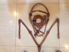 Western Set Of Shaped Tan Leather Buffalo Head stall,Rein Breast Collar Spur