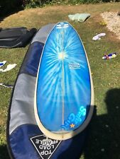 "Mini mal surfboard, board bag, Kelly slate fin ,new leash , Paul Callahan 7'4"""