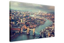 LONDON AERIAL TOWER BRIDGE CANVAS PRINTS WALL ART PICTURES DECORATION ARTWORK