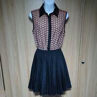 Pussycat London Womens Beige Black Pleated Fit&Flare Dress Size 8