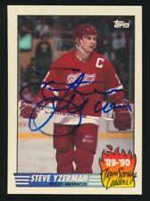 1990-91 Topps Scoring Leaders Insert -STEVE YZERMAN (Red Wings) *Autographed*