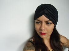 Bonnet turban noir extensible rétro pinup original mi-saison