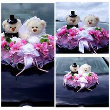 Brautauto Dekorationen Autoschmuck Hochzeitsauto Weiß Rose Autodeko Bären  M4