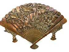 Antique Japanese Copper Bird Fan Shaped Card Place Menu or Card Holder