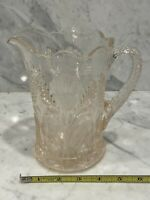 Vintage Mosser Glass Ohio Inverted Thistle Pink Water Pitcher 6 1/2""