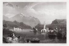 Lovely Clarkson Frederick Stanfield 1800s Engraving LAKE COMO Framed SIGNED COA