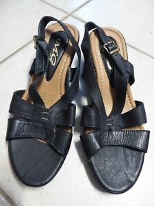 14 - LEATHER WOMENS MG  SLINGBACK WEDGE SANDALS BLACK  SIZE 38