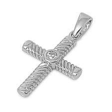 NEW! GIFT! White topaz Fancy Cross .925 Sterling Silver Pendant
