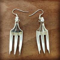 Antique Vintage Olive Fork Elegant Earrings Silverware Plate Jewelry