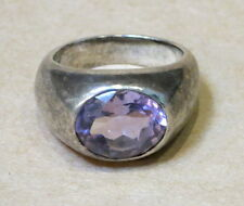 BEAUTIFUL LARGE STERLING SILVER & AMETHYST RING 15.87g