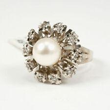 Ringe aus Weißgold mit echten Perlen (17,5 mm Ø) von