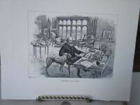 Vintage Print,TENNYSON IN HIS LIBRARY,Great Men+Famous Women,1894