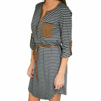 Fashion Women Striped Long Sleeve Loose Dress  Party Casual Dresses