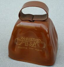 Souvenir Cowbell Jamboree Usa Wheeling Wv Cow Bell Brown Gold Text 3in Vintage