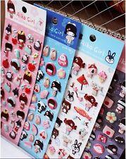KAWAII Japanese style Kimono Jewel Girl Sticker Sheet, 4-sheet lot Epoxy