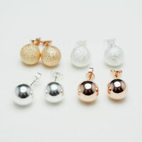Shiny Rose Gold PLT/925 Sterling Silver PLT Frosted/Smooth Ball Stud Earrings UK