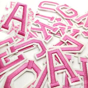 PINK Letter Patch Patches Sew on / Iron on Alphabet Embroidered Clothes Letters
