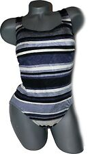 NWT CAZIMI maillot swimsuit designer 10 C cup bra sized striped gray black